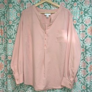 Pure Energy pale pink long sleeve blouse